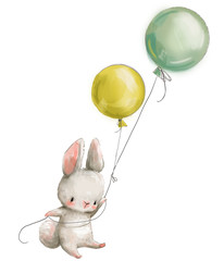 Little hare fly with balloon.