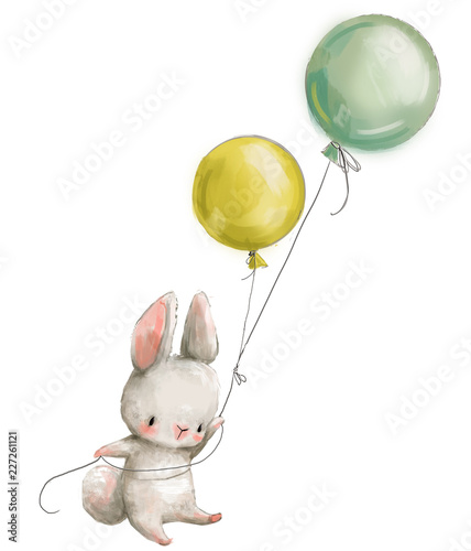 Valokuva Little hare fly with balloon.