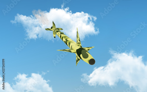 Photo  Military cruise missile flies over blue sky. 3d illustration