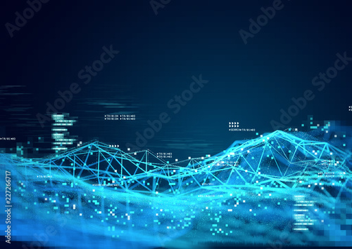 Fotografia Data and 3D visualization of information tracking