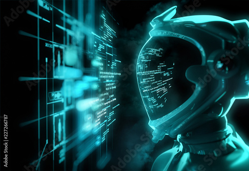 A Futuristic Spaceman Reading Programming Code With It Being