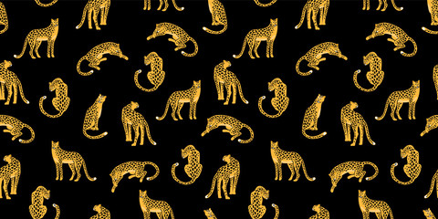 Fototapeta Pantera Seamless exotic pattern with abstract silhouettes of leopards.
