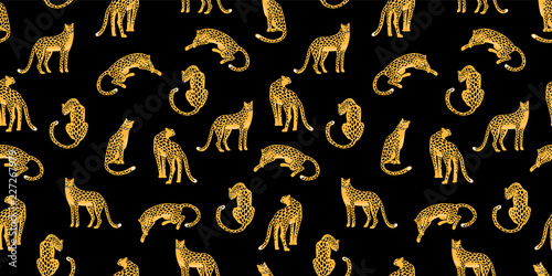 Foto-Tapete - Seamless exotic pattern with abstract silhouettes of leopards. (von Nadezda Grapes)