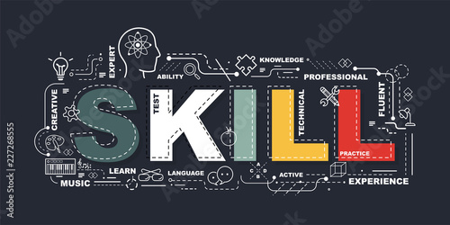 Photo Design Concept Of Word SKILL Website Banner.