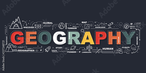 Fotografie, Tablou  Design Concept Of Word Geography Website Banner.