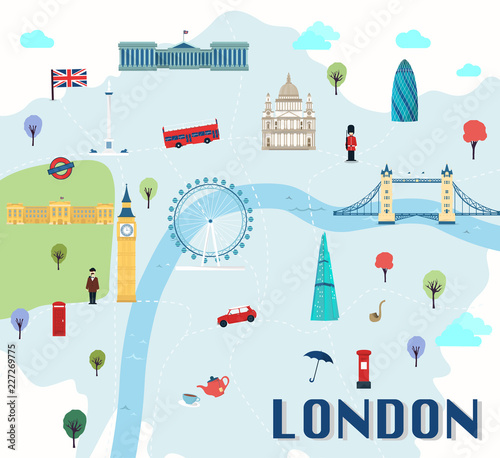 Map Of London Attractions Vector And Illustration.