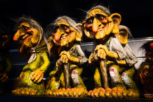 Figurines Of Traditional Norwegian Funny Troll In Norway Gift Shop