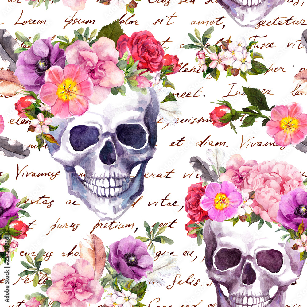 Human skulls, flowers for Dia de Muertos holiday. Seamless pattern with hand written text. Watercolor