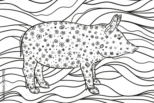 Wavy wallpaper with pig. Zentangle. Hand drawn ornaments on white. Abstract patterns on