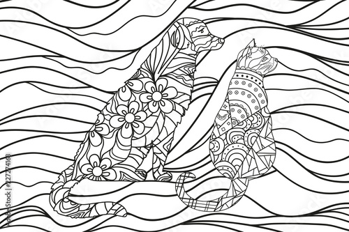 dog and cat. Zentangle. Hand drawn