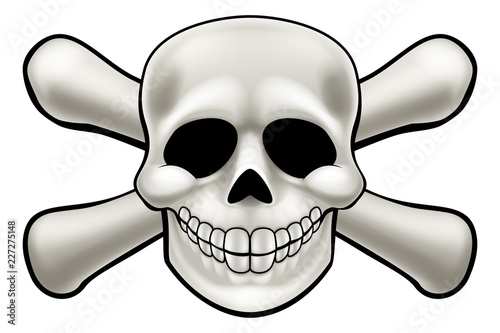 Cartoon pirate skull and crossbones skeleton illustration Canvas Print