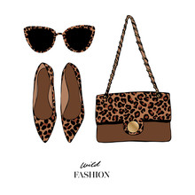 Set Of Fashion Women's Accessories: Shoes. Bag And Sunglasses With Fashionable Leopard Print. Female Fashion Accessories. Concept Design Woman Trendy Accessories. Wild Fashion. Vector Illustration