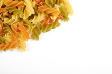 Raw Colorful Italian Fusilli Pasta Isolated On White