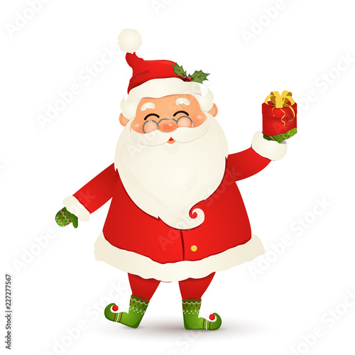 cute santa claus giving christmas present happy santa claus holding red gift box isolated on white background santa clause for winter and new year holidays happy santa claus cartoon character buy adobe stock