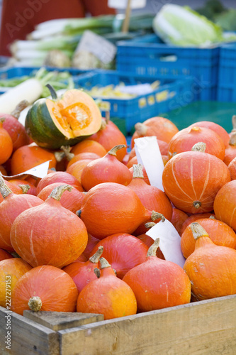 fresh pumpkins on a farmer's market, healthy food, fruit, selective focus