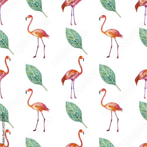 Keuken foto achterwand Flamingo Seamless pattern. Golden tropics, leaves, flamingos are painted by hand.
