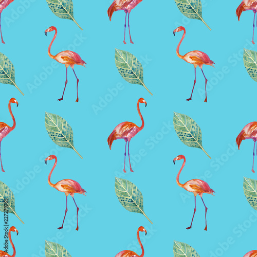 Canvas Prints Flamingo Bird Seamless pattern. Golden tropics, leaves, flamingos are painted by hand.