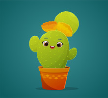 Cute Cactus Cartoon Character With Yellow And Orange Flowers. Blue Green Background. Vector Illustration.