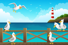 Seascape With Seagulls On The Wooden Pier. Red And White Lighthouse On Rocks And Ocean Background. Vector Illustration
