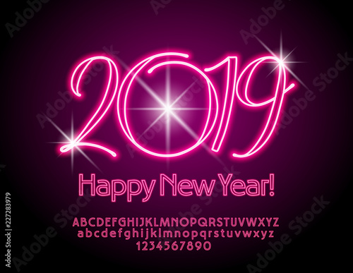 Vector chic Greeting Card Happy New Year 2019. Neon set of Alphabet Letters, Numbers and Symbols. Bright Red Font. Wall mural