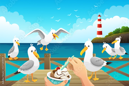 Seascape with greedy seagulls watching a person eat an ice cream on the wooden pier Fototapeta
