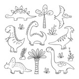 Fototapeta Dinusie - Dinosaurs and prehistoric plants. Set of vector illustration in doodle and cartoon style. Hand drawn. Linear. Black and white