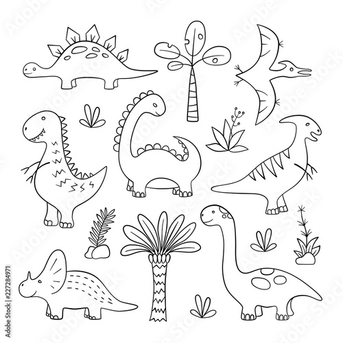 Dinosaurs and prehistoric plants. Set of vector illustration in doodle and cartoon style. Hand drawn. Linear. Black and white Wall mural