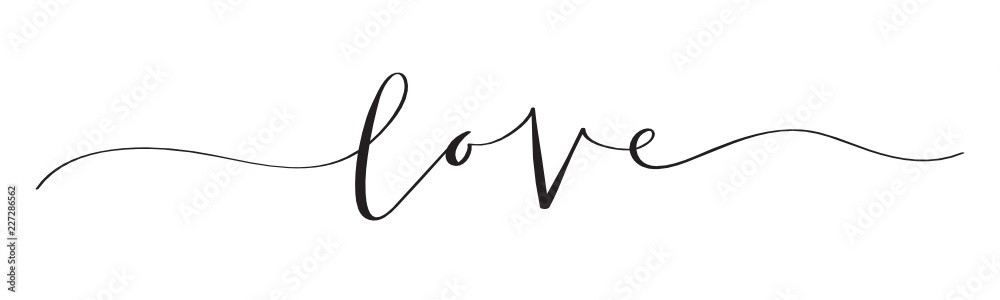 Fototapety, obrazy: LOVE brush calligraphy banner