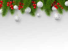 Christmas Holiday Design. Realistic 3d Balls, Fir-tree Branches And Berries. Place For Text. New Year Template. Vector Illustration.