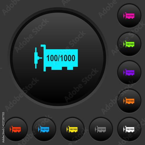 Fényképezés Gigabit ethernet network controller dark push buttons with color icons
