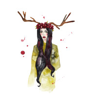 Forest Nymph With Deer Horns On Her Head. Watercolor Illustration On White Isolated Background