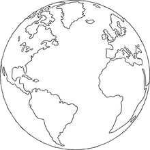 World Globe Map Outline Drawing