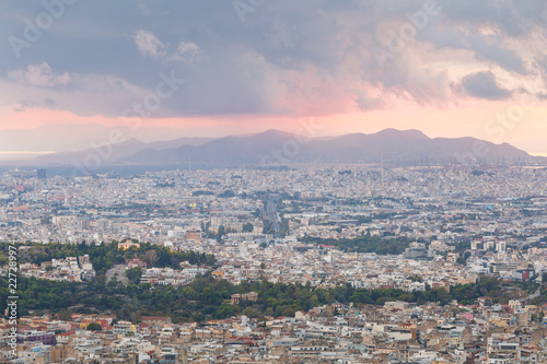 Fotobehang Mediterraans Europa View of Athens and Salamina island from Lycabettus hill at sunset, Greece.