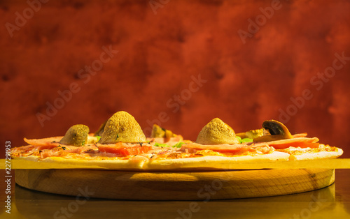 Pizza with champignons, menu background for pizzeria