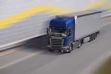 Highway. A Fast Moving Truck O...