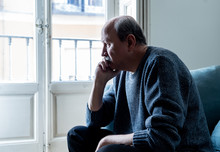 Sad Unhappy Old Senior Man Suf...