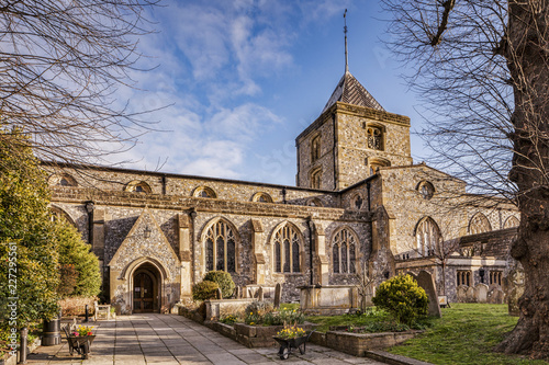 The Parish and Priory Church of St Nicholas, Arundel, Sussex, England, UK, on a bright day in early spring Wallpaper Mural