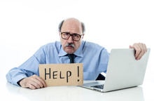 Portrait Os Senior Businessman Asking For Help Isolated On White Background