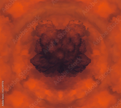 Abstract Square Of A Red Cloudy Sunset After A Huge Forest