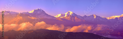 Foto op Aluminium Snoeien Panoramic view of snow mountains range landscape