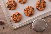 Homemade Cookies With Chocolate Freshly Baked Top