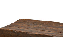Perspective View Of Wooden Plank Table On White Background Including Clipping Path
