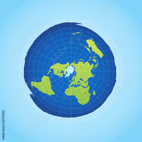 Azimuthal projection flat land on light background Canvas Print