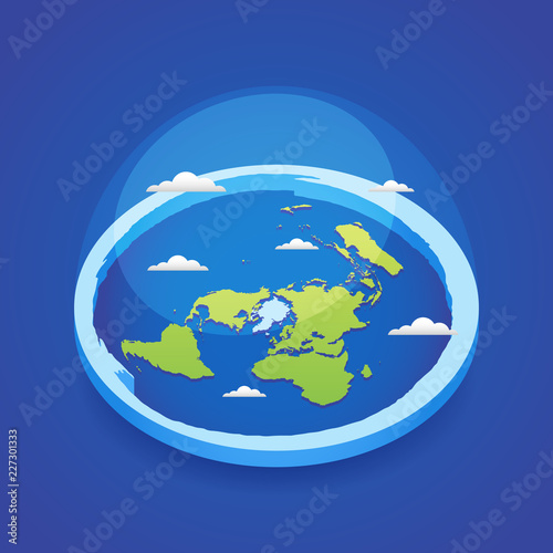 Azimuthal projection flat land 3d icon Canvas Print