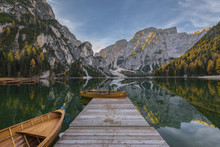 Autumn Sunrise On The Braies Lake, Dolomites, Pusteria Valley, Italy