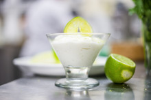 Lime Mousse With Slice Of Lime...