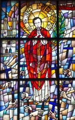 Fototapeta Witraże sakralne Chełm, Poland, 10 September 2018: Stained glass window with the image of the blessed priest Jerzy Popieluszko in the window of the church, the shrine of the Mother of God in Chełm