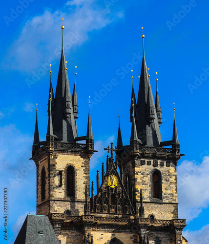 Staande foto Praag Czech, Prague Castle two towers on a dark blue sky. Beautiful mystical gothic cathedral architecture exterior.