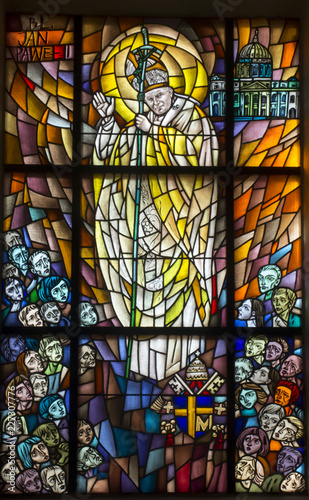 Chełm, Poland, 10 September 2018: Stained glass window with the image of Saint P Canvas Print