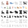 An unrealistic animal cartoon icons in set collection for design. Toy animals vector symbol stock web illustration.